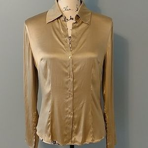Willi Smith Elegant Gold Silk Blouse